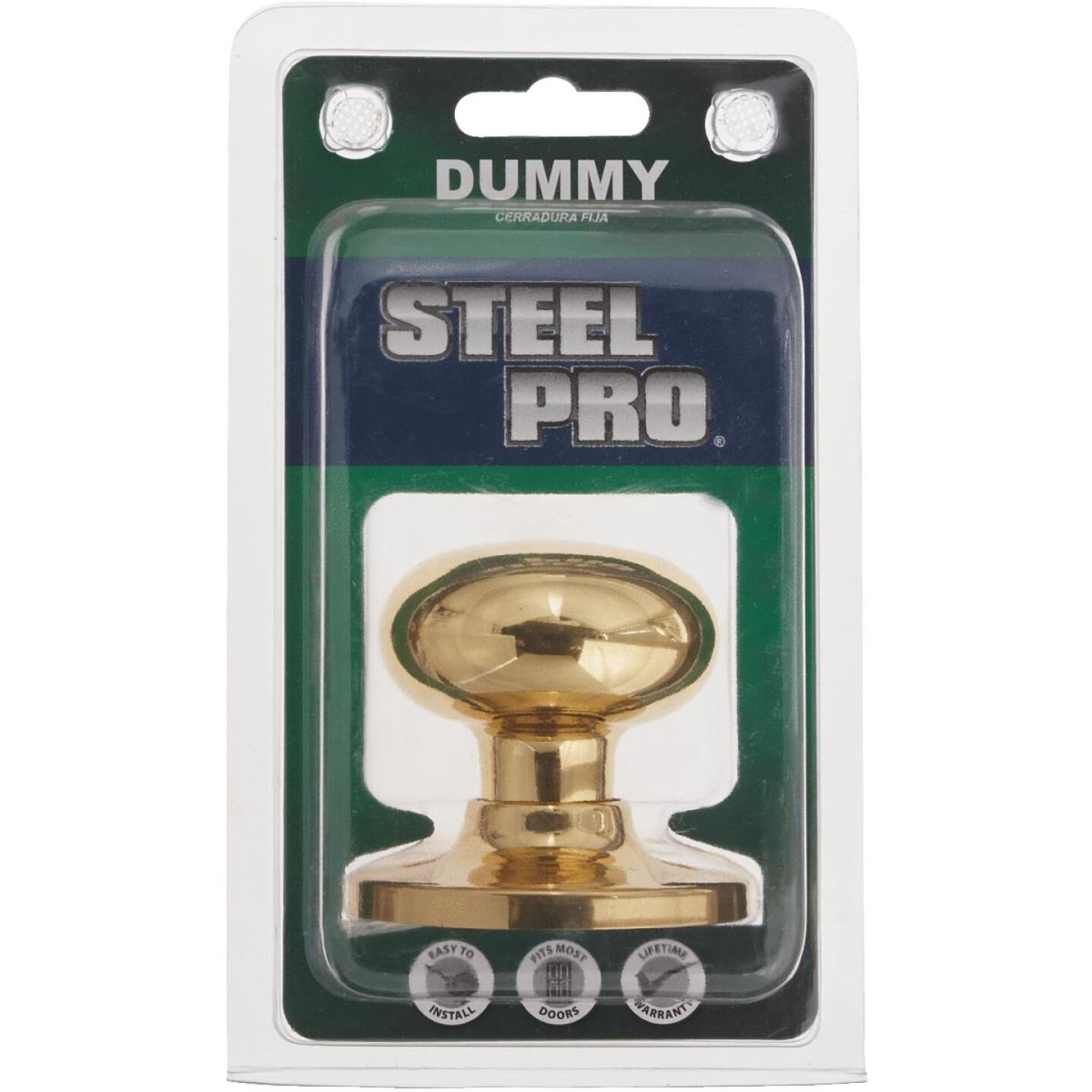 Steel Pro Polished Brass Dummy Door Knob Image 2