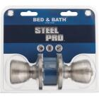 Steel Pro Brushed Nickel Bed & Bath Door Knob Image 2