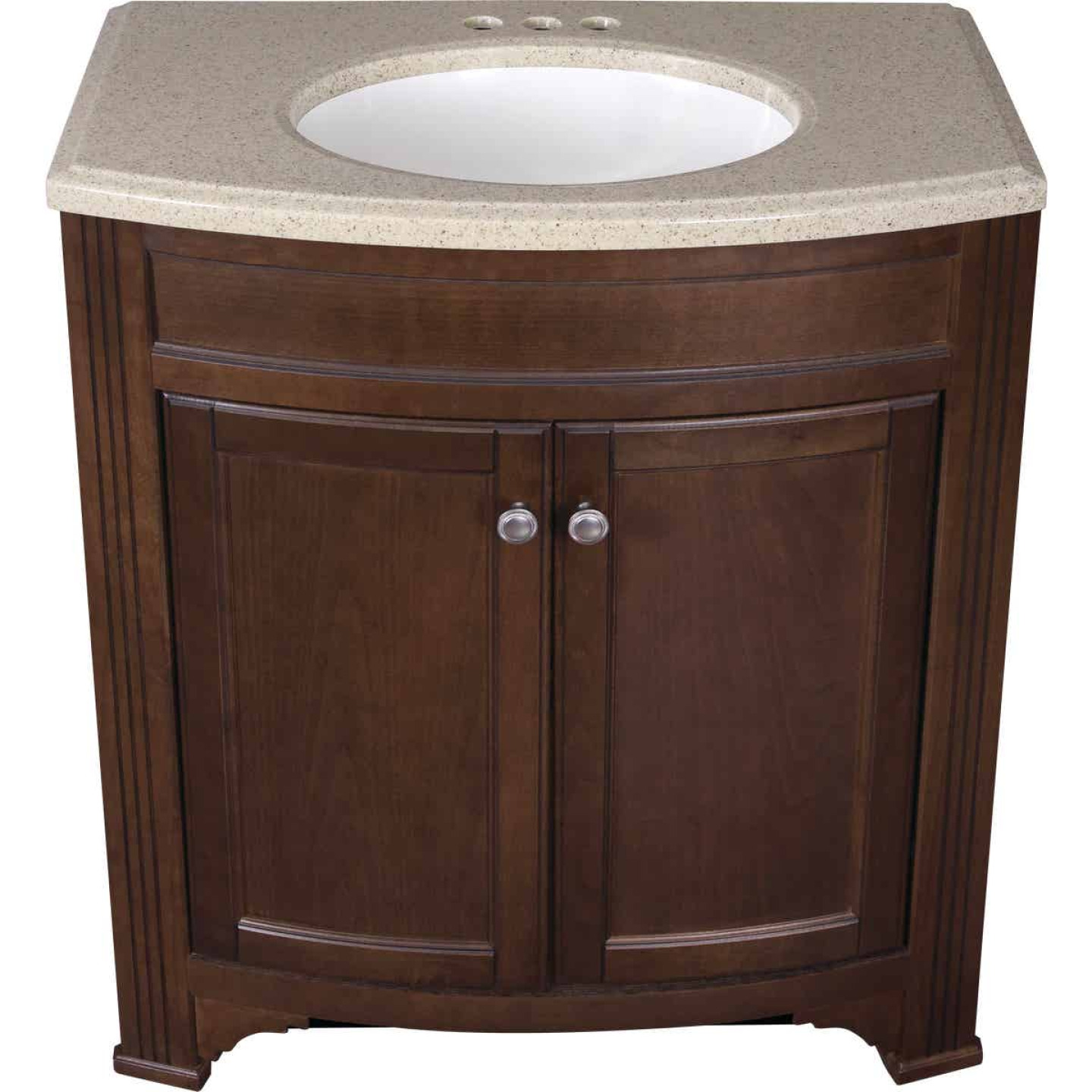 Continental Cabinets Duvall Cafe Black Glaze 30-3/4 In. W x 34-3/4 In. H x 18-1/2 In. D Vanity with Tan/Wht Cultured Marble Top Image 3