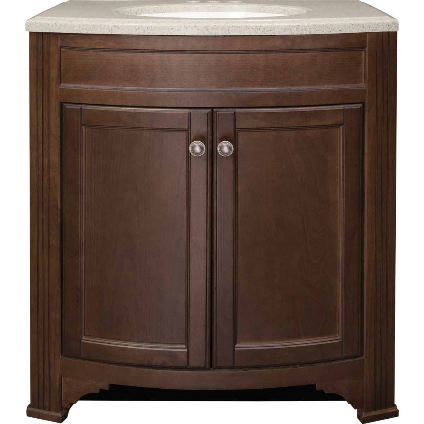 Continental Cabinets Duvall Cafe Black Glaze 30-3/4 In. W x 34-3/4 In. H x 18-1/2 In. D Vanity with Tan/Wht Cultured Marble Top Image 4