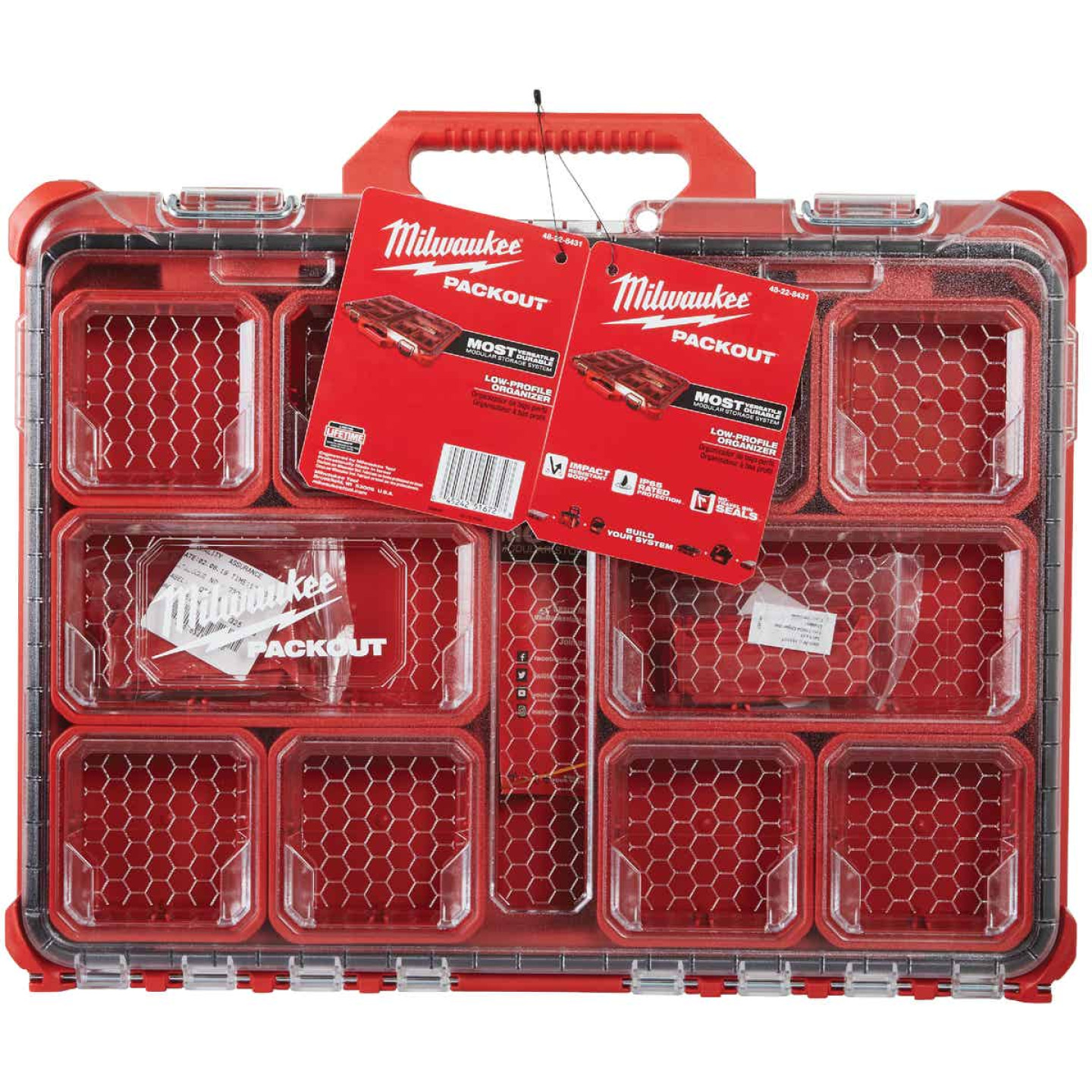 Milwaukee PACKOUT 16.50 In. W x 2.50 In. H x 19.75 In. L Lo Profile Small Parts Organizer with 10 Bins Image 2
