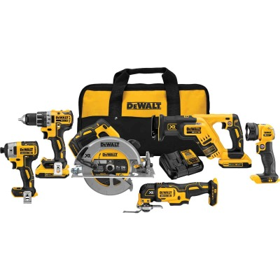 DeWalt 6-Tool 20V MAX XR Lithium-Ion Brushless Compact Drill/Driver, Impact Driver, Circular Saw, Reciprocating Saw, Oscillating Tool & Work Light Cordless Tool Combo Kit