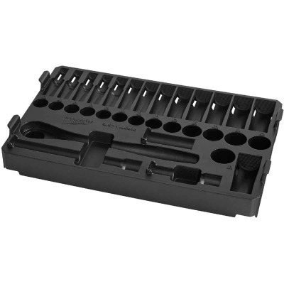 Milwaukee 32-Piece 3/8 In. Drive Metric PACKOUT Tray Ratchet & Socket Holder