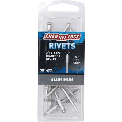 Channellock 3/16 In. Dia. x 1/4 In. Grip Aluminum POP Rivet (15-Pack)