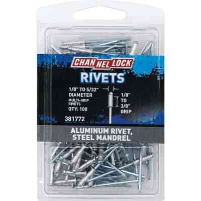 Channellock 1/8 In. to 5/32 In. Dia. x 0.157 In. to 0.315 In. Grip Aluminum Multigrip POP Rivet (100-Pack)