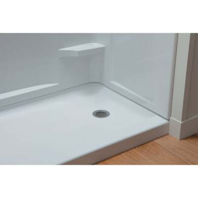 Sterling Ensemble 60 In. W x 30 In. D Left Drain Shower Floor & Base in White