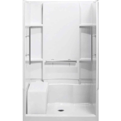 Sterling 3-Piece 36 In. L. x 55-1/8 In. H. x 48 In. W. White Shower Wall Set