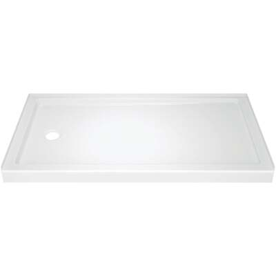 Delta Classic 400 60 In. L x 32 In. D Left Drain Shower Floor & Base in White