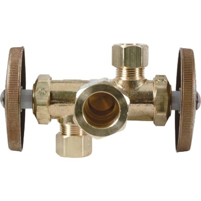 BrassCraft 5/8 In. C X 3/8 In. OD X 3/8 In. OD Rough Brass Dual Outlet Valve