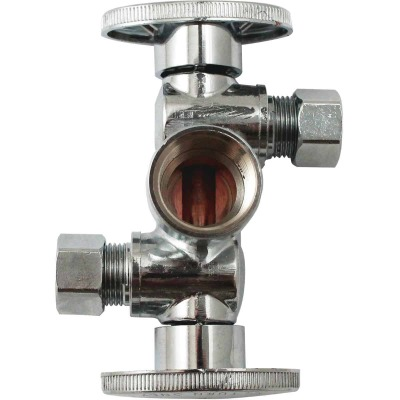"Keeney 1/2"" FIP x 3/8"" OD x 3/8"" OD Quarter Turn Dual Shut-Off/Dual Outlet Valve"
