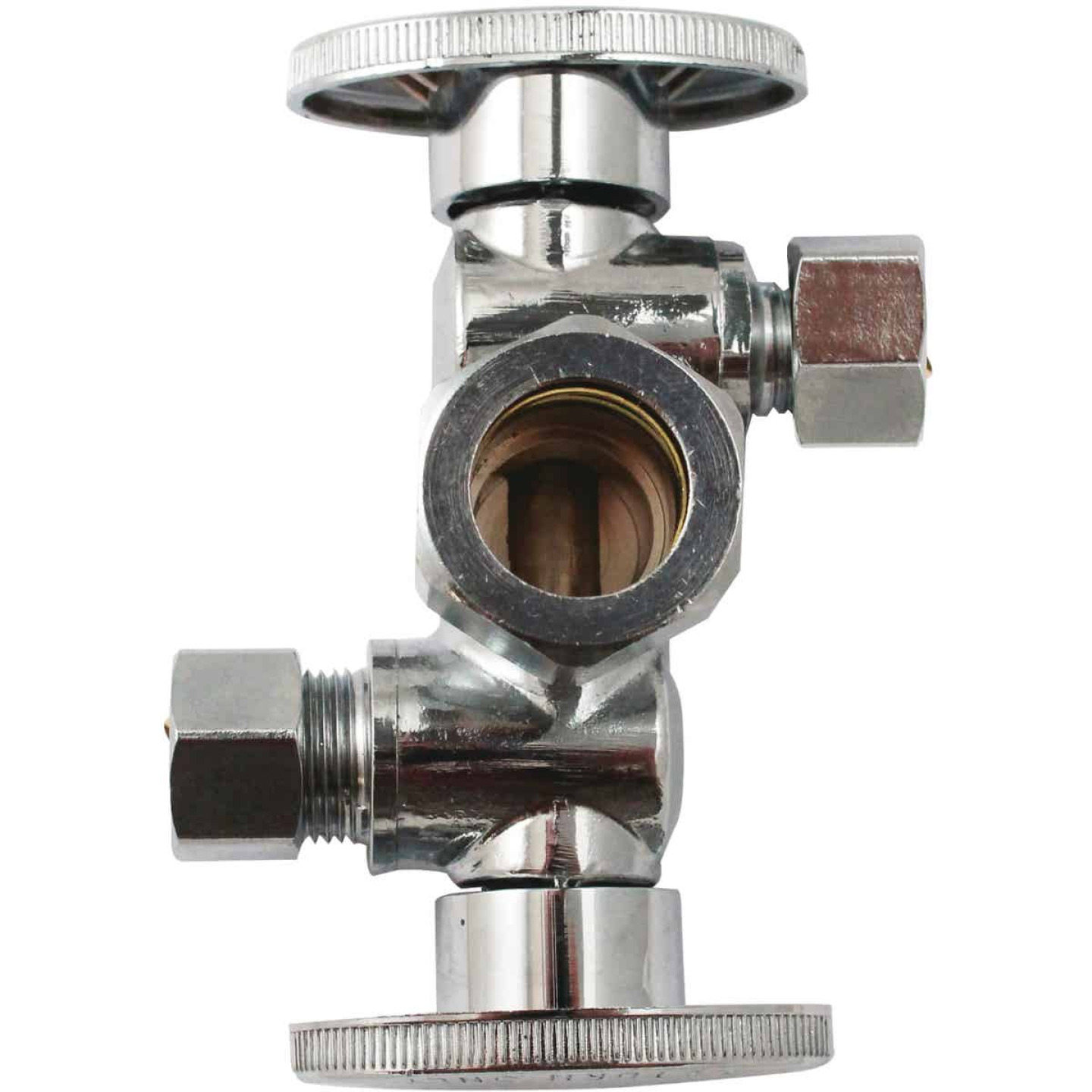 "Keeey 5/8"" OD x 3/8"" OD x 3/8"" OD Quarter Turn Dual Shut-Off/Dual Outlet Valve Image 1"