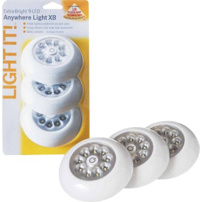 Light It 9-Bulb White LED Battery Tap Light (3-Pack)