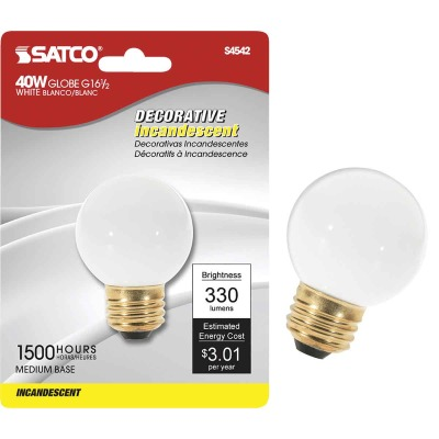 Satco 40W Frosted Medium G16.5 Incandescent Globe Light Bulb
