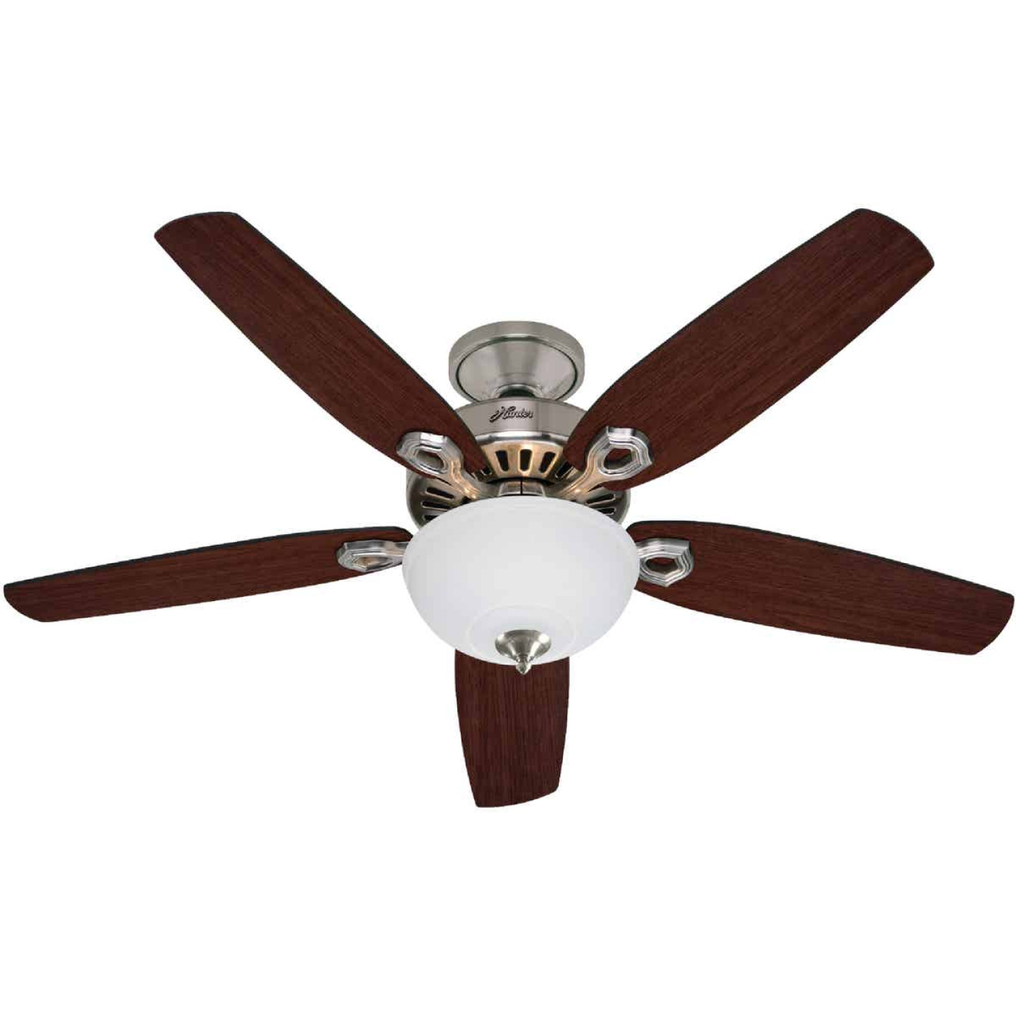 Hunter Builder Deluxe 52 In. Brushed Nickel Ceiling Fan with Light Kit Image 1
