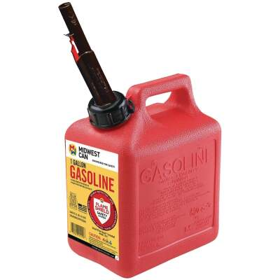 Midwest Can 1 Gal. Plastic Auto Shut-Off Gasoline Fuel Can, Red