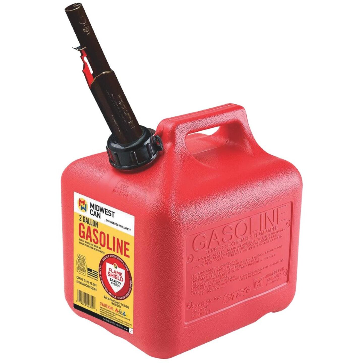 Midwest Can 2 Gal. Plastic Auto Shut-Off Gasoline Fuel Can, Red Image 1