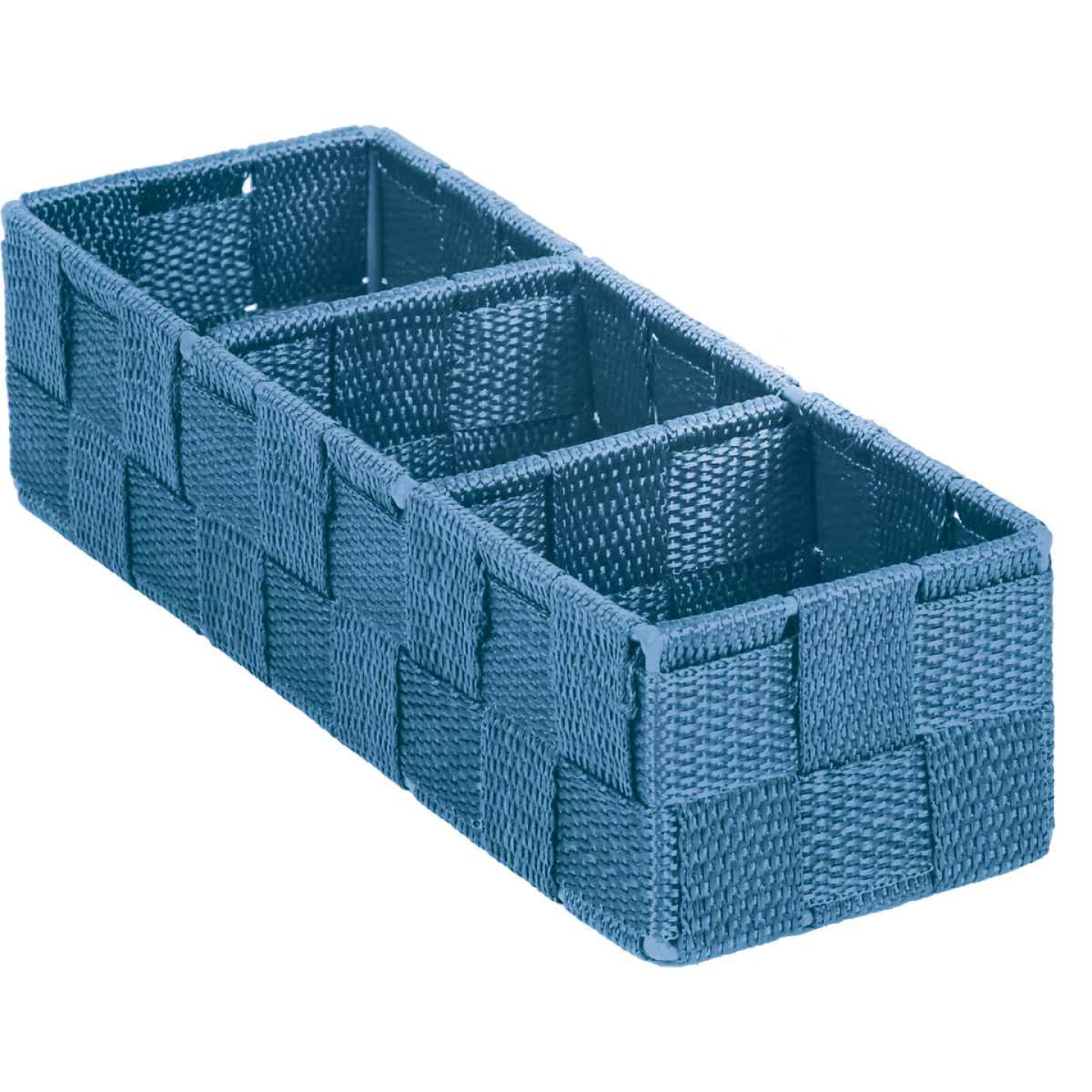 Home Impressions 3.25 In. W. x 2.25 In. H. x 9.5 In. L. Woven Storage Tray, Blue Image 1