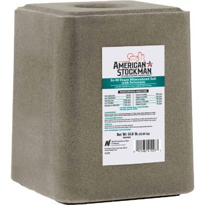 American Stockman 50 Lb. Trace Mineralized Salt With Selenium 90 Salt Block