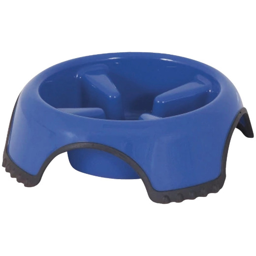 Aspen Pet Skid Stop Plastic Round Large Slow Feed Pet Food Bowl