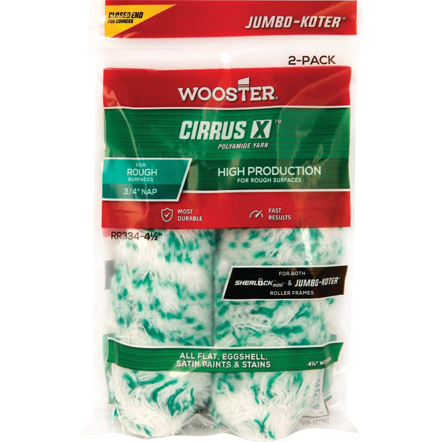 Wooster Jumbo-Koter Cirrus X 4-1/2 In. x 3/4 In. Yarn Paint Roller Cover (2 Pack) Image 1