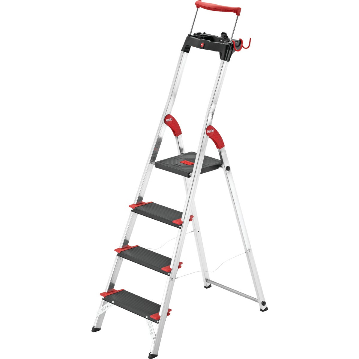 Hailo L100 4-Step Ladder with Adjustible Handrail & 330 Lb. Capacity Image 1