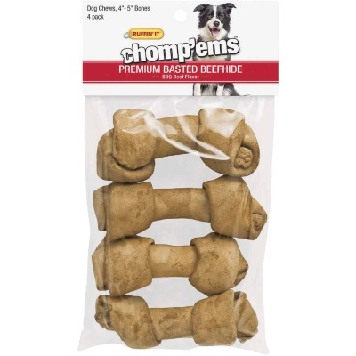 Westminster Pet Ruffin' it Chomp'ems Knotted 4 In. to 5 In. Beef Rawhide Bone (4-Pack)