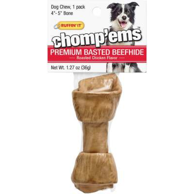 Westminster Pet Ruffin' it Chomp'ems Knotted 4 In. to 5 In. Chicken Rawhide Bone