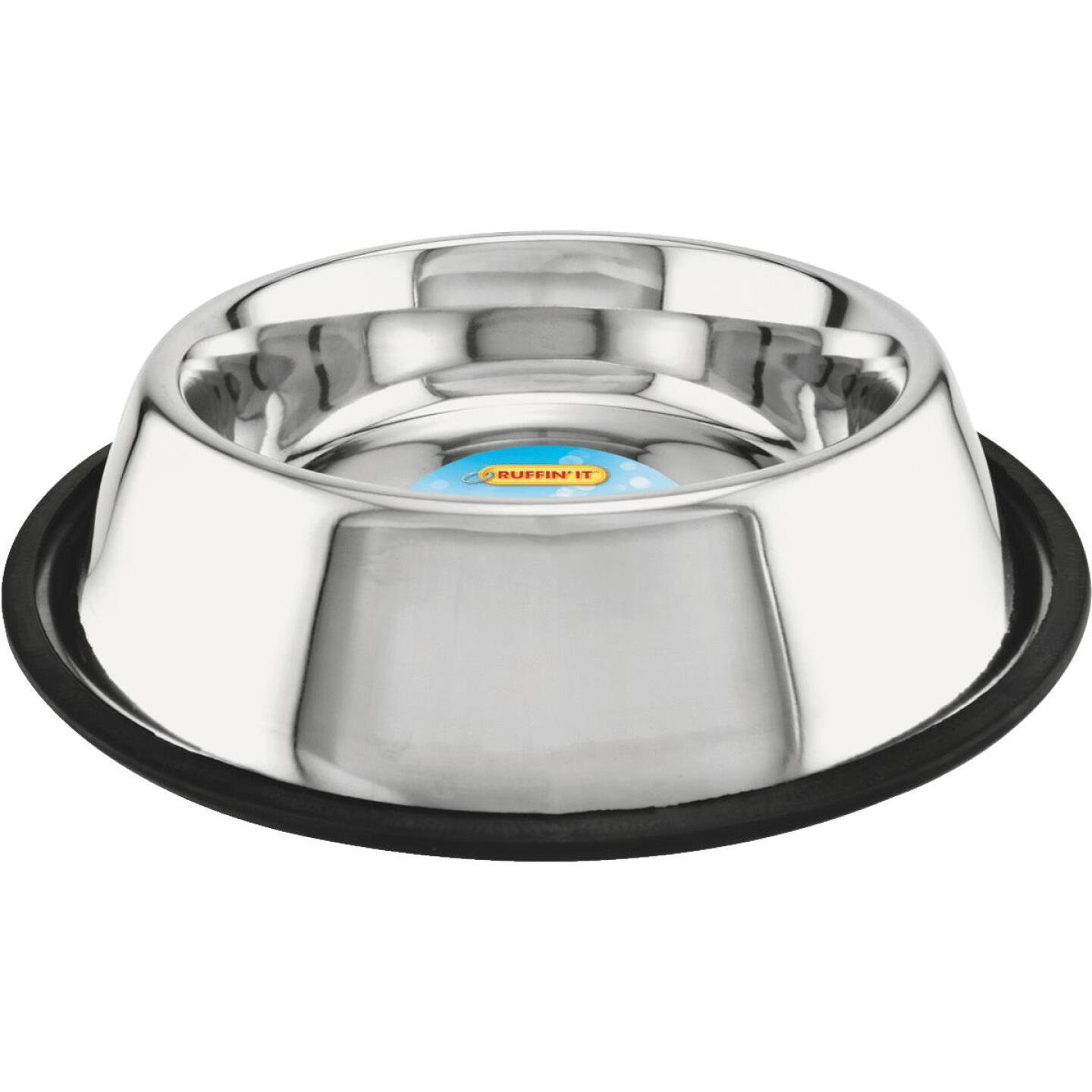 Westminster Pet Ruffin' it Stainless Steel Round 32 Oz. No Skid Pet Food Bowl Image 1