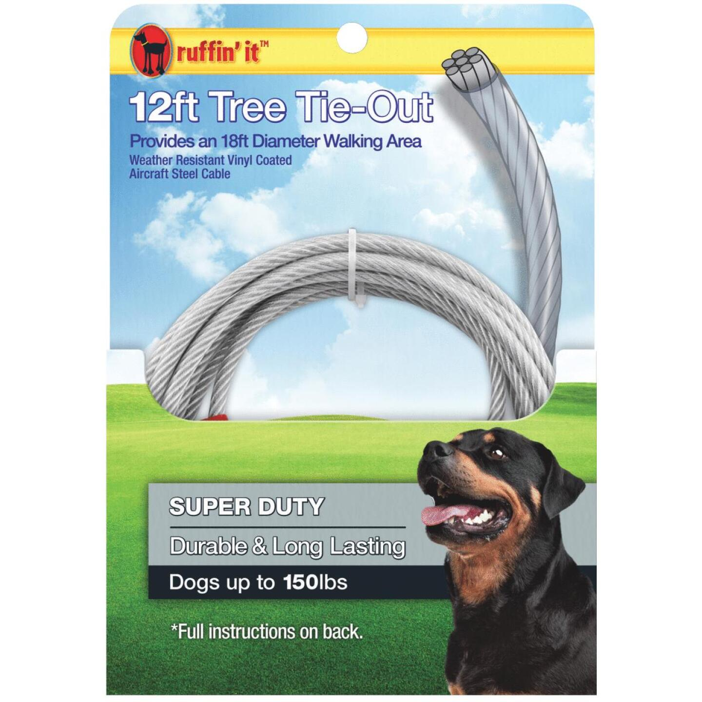 Westminster Pet Ruffin' it Tree Tie-Out Cable For Extra Large Dogs, 12 Ft. Image 1
