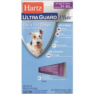 Hartz UltraGuard Plus 3-Month Supply Flea & Tick Drops For Dogs 31 To 60 Lb.