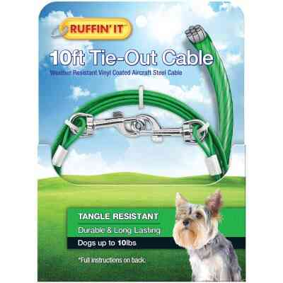 Westminster Pet Ruffin' it Tangle Resistant Small Dog Tie-Out Cable, 10 Ft.